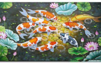 Tranh sơn dầu cá chép