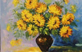 tranh sơn dầu hoa